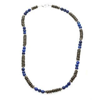 Lola's Jewelry Men's 'Money and Good Luck' Pyrite and Blue Lapis Necklace|https://ak1.ostkcdn.com/images/products/8496937/Charming-Life-Money-and-Good-Luck-Pyrite-and-Blue-Lapis-Mens-20-inch-Necklace-P15783080.jpg?impolicy=medium