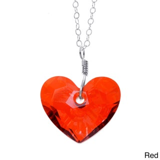 Lola's Jewelry Sterling Silver 'In Love' Heart Crystal Pendant Necklace (3 options available)