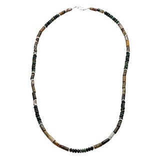 Lola's Jewelry Men's Sterling Silver Variegated Jasper Camouflage Necklace