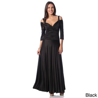 Evanese Women's Shiny Venezia Slip On Long Elegant Dress with 3/4 Sleeves