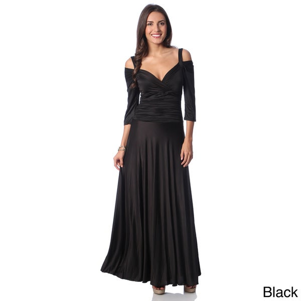 Evanese Women's Shiny Venezia Slip On Long Elegant Dress with 3/4 Sleeves. Opens flyout.