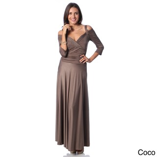 Evanese Women's Shiny Venezia Slip On Long Elegant Dress with 3/4 Sleeves (Option: s - Coco)