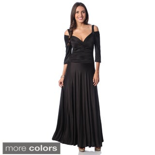 Evanese Women's Shiny Venezia Slip On Long Elegant Dress with 3/4 Sleeves