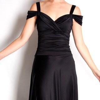 Evanese Women's Shiny Venezia Slip On Elegant Long Dress with Shoulder Bands