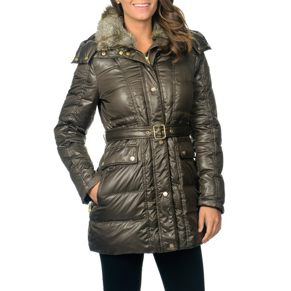 Shop Vince Camuto Women S Olive Down Belted Coat