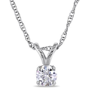 Link to Miadora 14k White Gold 1/5ct TDW Certified Diamond Necklace Similar Items in Necklaces