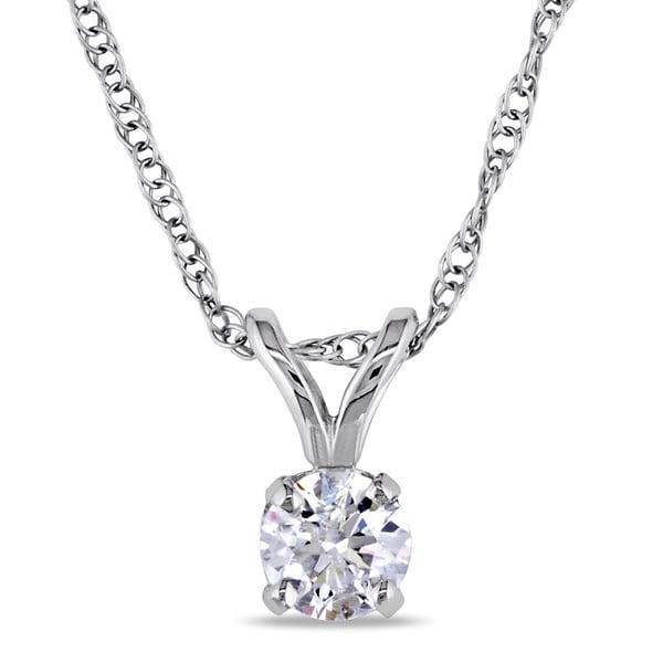 Miadora 14k White Gold 1/5ct TDW Certified Diamond Necklace