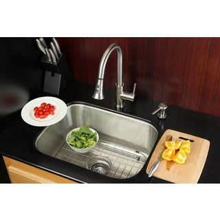 Undermount Stainless Steel 23-inch Single Bowl Kitchen Sink and Faucet Combo with Grid/ Strainer and Soap Dispenser