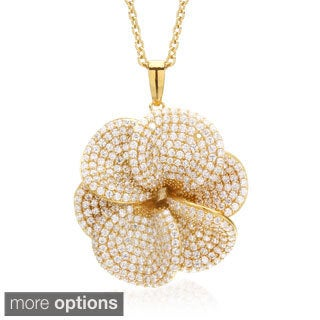 Blue Box Jewels Silver Cubic Zirconia Oversized Flower Necklace