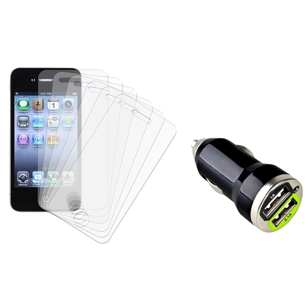 INSTEN LCD Protector Set/ Car Charger Adapter for Apple iPhone 4/ 4S