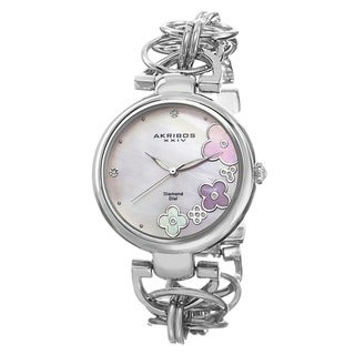 Akribos XXIV Women's Diamond Flower Dial Twist Chain Silver-Tone Bracelet Watch with FREE Bangle