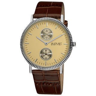 August Steiner Men's Slim 24 Hour Quartz Leather Brown Strap Watch