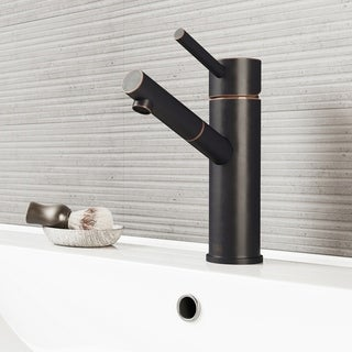 VIGO Noma Bathroom Single Hole Faucet in Antique Rubbed Bronze with Pop Up