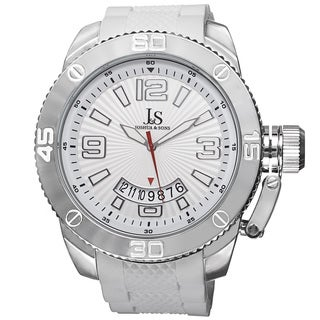 Joshua & Sons Bold Quartz Date Etched Sunray Dial PU White Strap Watch