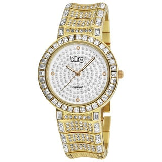 Burgi Women's Diamond Baguette Quartz Gold-Tone Bracelet Watch