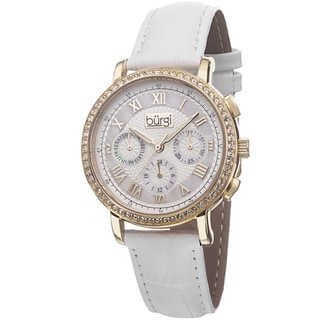 Burgi Ladies Swiss Quartz Multifunction Leather Gold-Tone Strap Watch