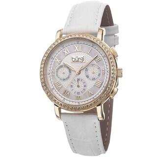 Burgi Ladies Swiss Quartz Multifunction Leather Gold-Tone Strap Watch