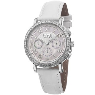 Burgi Ladies Swiss Quartz Multifunction Leather Silver-Tone Strap Watch with FREE Bangle