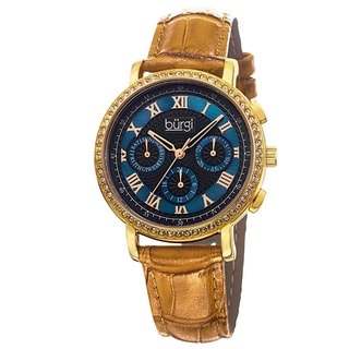 Burgi Ladies Swiss Quartz Multifunction Leather Strap Watch with FREE GIFT