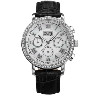 Burgi Ladies Crystal-accented Swiss Quartz Multifunction Leather Black Strap Watch with FREE GIFT