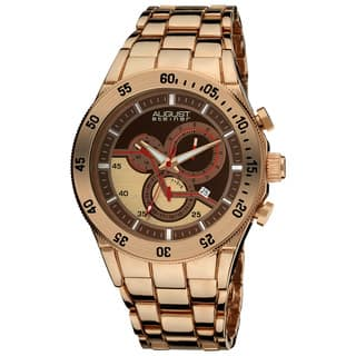 August Steiner Men's Goldtone Swiss Quartz Chronograph Rose-Tone Bracelet Watch with FREE GIFT|https://ak1.ostkcdn.com/images/products/8497325/August-Steiner-Mens-Goldtone-Swiss-Quartz-Chronograph-Bracelet-Watch-P15783364.jpg?impolicy=medium