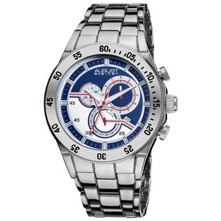 August Steiner Men's Blue-dial Swiss Quartz Chronograph Silver-Tone Bracelet Watch with FREE GIFT