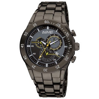 August Steiner Men's Black Swiss Quartz Chronograph Bracelet Watch