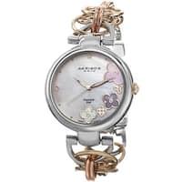 Akribos XXIV Women's Diamond Flower Dial Twist Chain Bracelet Watch