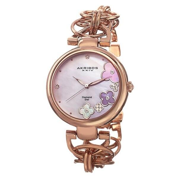 Akribos XXIV Women's Diamond Flower Dial Twist Chain Rose-Tone Bracelet Watch with FREE GIFT