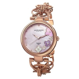 Akribos XXIV Women's Diamond Flower Dial Twist Chain Rose-Tone Bracelet Watch