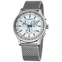 Akribos XXIV Men's Chronograph Tachymeter Stainless Steel White-dial Silver-Tone Bracelet Watch