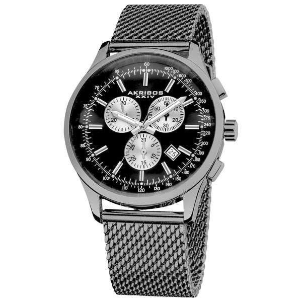 Akribos XXIV Men's Chronograph Tachymeter Stainless Steel Black Bracelet Watch