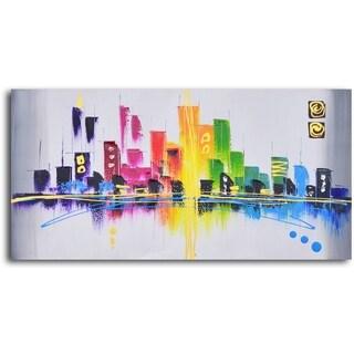 'Rainbow cityscape' Oil Painting