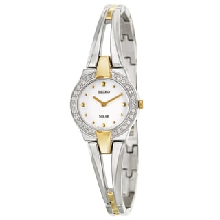 Seiko Women's 'Solar' Stainless Steel/ Yellow-goldplated Solar Powered Quartz Watch
