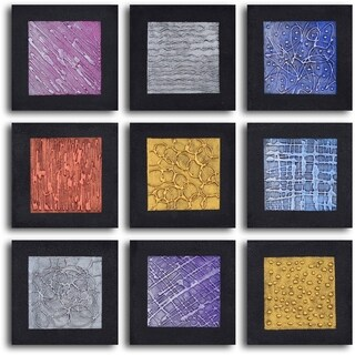 'Tic-tac-toe tin tiles' 9-piece Hand Painted Oil Painting