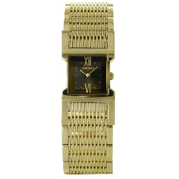 296f6eed157 Shop Seiko Women s Gold-tone Stainless Steel Watch with Black Dial - Free  Shipping Today - Overstock - 8497398