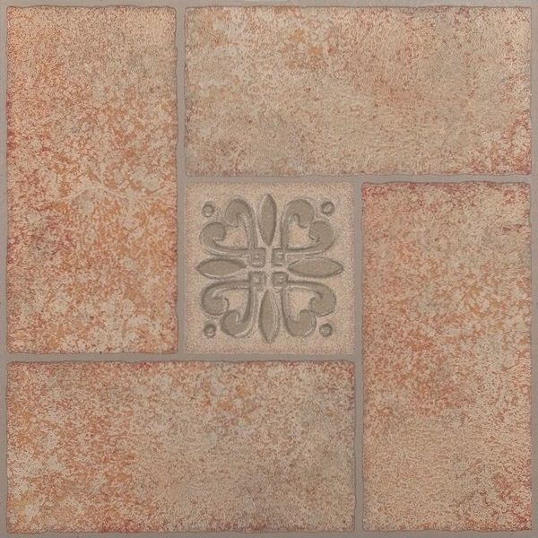 Vinyl Floor Tile grouted peel and stick vinyl floor tile Achim Nexus 20 Piece Beige Terracotta Motif 12x12 Self Adhesive Vinyl Floor Tile 20