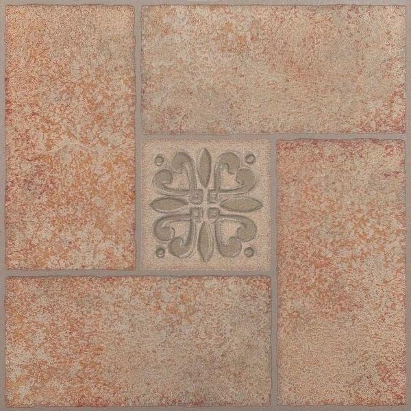 Achim Nexus Beige Terracotta Motif Center 12x12 Self Adhesive Vinyl Floor  Tile - 20 Tiles/20 sq  ft