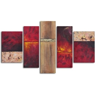 'Francophile wall panels' 5-piece Hand Painted Oil Painting