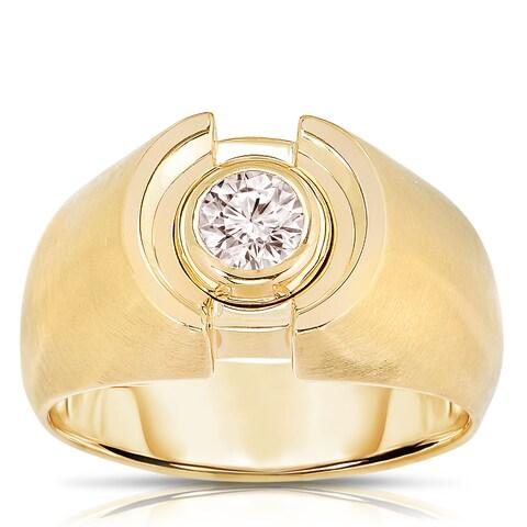 Eloquence 10k Yellow Gold Men's 3/4ct TDW Bezel-set Diamond Ring