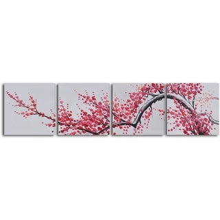'Extension of Asian branch' 4-piece Hand Painted Oil Painting - Pink/Black/Grey
