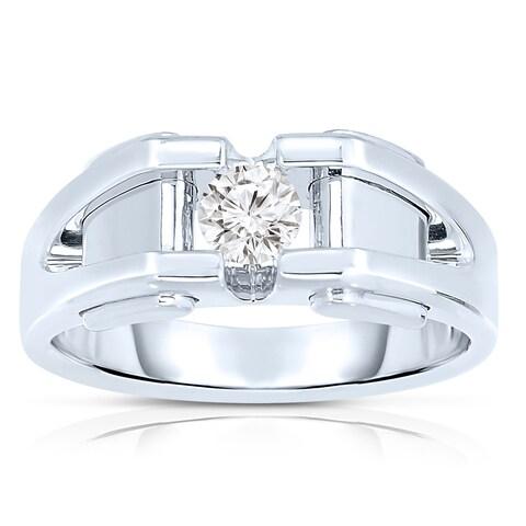 10k White Gold Men's 3/8ct TDW Diamond Solitaire Bezel-set Ring