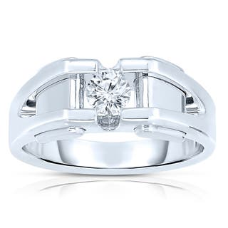 10k White Gold Men's 3/8ct TDW Diamond Solitaire Bezel-set Ring|https://ak1.ostkcdn.com/images/products/8497447/P15783486.jpg?impolicy=medium