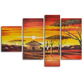 'African homestead sunset' 4-piece Hand Painted Oil Painting