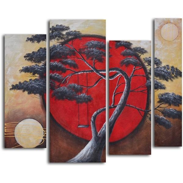 'Crimson sun, midnight moon' 4-piece Hand Painted Oil Painting