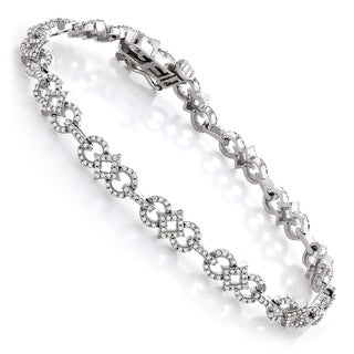 Luxurman 14k White Gold 1 2/5ct TDW Diamond Bracelet