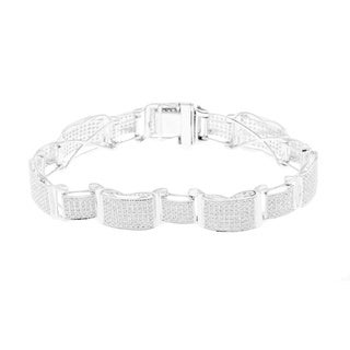 Luxurman 10k White Gold 4 3/5ct TDW Men's Diamond Bracelet (H-I, I1-I2)