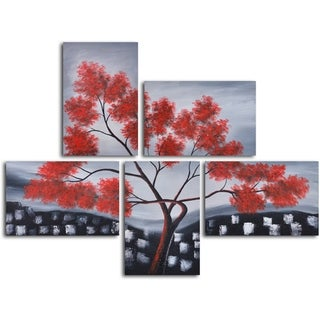'Red leaves over rooftops' 5-piece Hand Painted Oil Painting