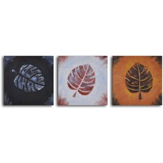 'Leaf rubbing trio' 3-piece Hand Painted Oil Painting - white/red