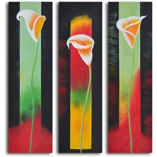 'Upstaged lilies' 3-piece Hand Painted Oil Painting
